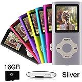 Ueleknight MP3/MP4-Player mit Einer 16G Micro SD-Karte, Portable Digital Music Player auch als Sprachaufzeichnung/E-Book-Reader, 1,8 Zoll LCD-Bildschirm Economic MP3 Player-Silber