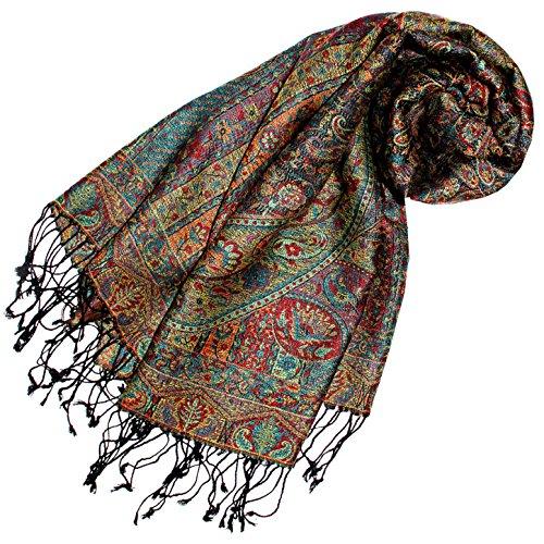 Wunderschöne Damen Mantel Jacke Seide (LORENZO CANA - Luxus Pashmina Schal Schaltuch aus Seide und Wolle 70 x 190 cm Paisley Muster Schaltuch Stola Umschlagtuch gewebt)