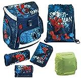 Familando Marvel Spiderman Schulranzen-Set 6tlg. Scooli Campus Up mit Federmappe gefüllt, Regenschutz Scooli