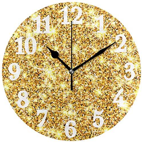Emoya Gold Glitzer Spatel Hintergrund Dekorative Runde Wanduhr für Wohnzimmer Schlafzimmer und Büro Batterie Nicht enthalten
