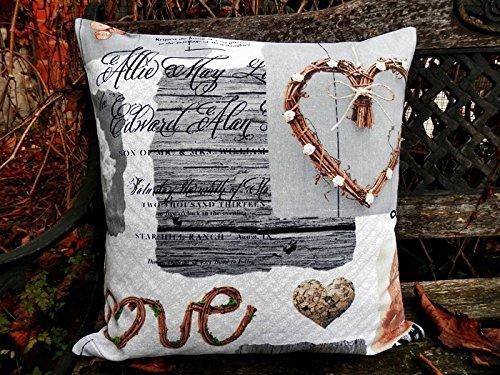 Kissenhülle Kissen romantisch rustikal grau!