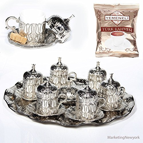 27 Pc Ottoman Turkish Greek Arabic Coffee Espresso Serving Cup Saucer (Silver) by Akmetal