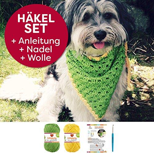 DIY-Häkelset für Hundehalstuch von myboshi: 2 Knäuel Wolle, Anfänger-Häkelanleitung Zum selbermachen Farben: (Grün, Gelb, mit Nadel)
