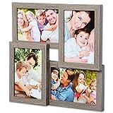 WOLTU BR9641ei Bilderrahmen Holz Rahmen, Collage für 4 Bilder, in 10x15cm Fotorahmen, Bildergalerie, Eiche