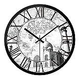 Europäische Uhren, Wanduhren, in Schwarz und Weiß, Lounge Wanduhr Wanduhr Vintage Persönlichkeit Landschaft Lounge der Welt - bis 12 cm.