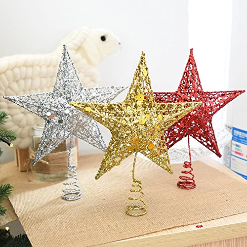 Global Brands Online Ãrbol de Navidad Topper Star Iron Christmas Star Tree Topper para Navidad DIY Accesorios