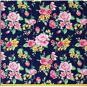 Stoff Nähen Blumen Blüten rosa schwarz Jerseystoffe, Mädchenstoffe, Stoffpaket, Frau Nähen Geschenk