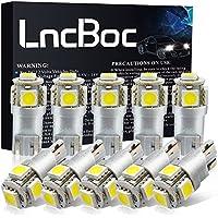 LncBoc Bombillas LED T10 W5W LED Coche 5SMD 5050LED 501 2825 175 192 168 194 Wedge Lampara para coches 6500K Xenón Blanco de interior y exterior 12V Paquete de 10