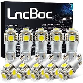 LncBoc Lampade W5W LED T10 194 168 5SMD 5050 12V 6000K Bianco Super Luminoso per Luci Targa LED Auto Lampadina Luci LED…