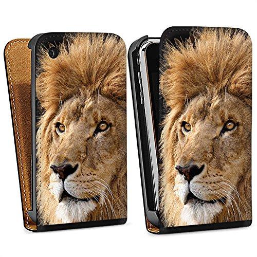 Apple iPhone 4 Housse Étui Silicone Coque Protection Le Roi lion Lion Félin Sac Downflip noir