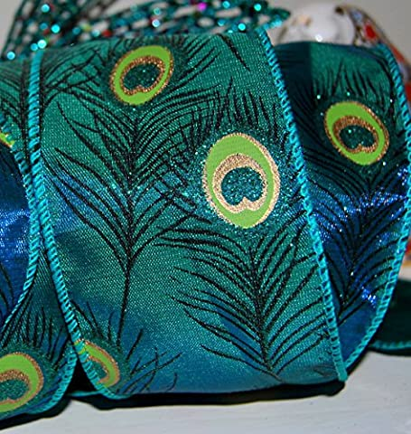 Ribbon Queen Luxury Peacock Feather Taffeta Green Teal 2.5