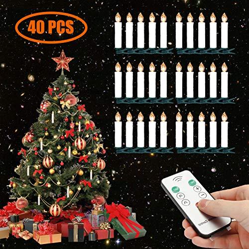 LED Weihnachtsbaumkerzen Kabellos Warmweiß Christbaumkerzen mit Fernbedienung (40er)