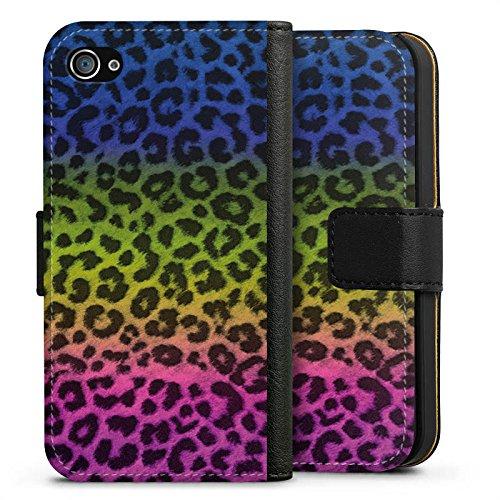 Apple iPhone X Silikon Hülle Case Schutzhülle Leopard Fell Bunt Sideflip Tasche schwarz