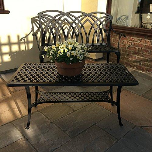 Lazy Susan – CLAIRE Rechteckiger Garten Beistelltisch mit 1 APRIL Gartenbank und 2 APRIL Stühlen – Gartenmöbel Set aus Metall, Antik Bronze - 3