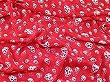 Gothic Skull Print Crinkle Chiffon Kleid Stoff Bright