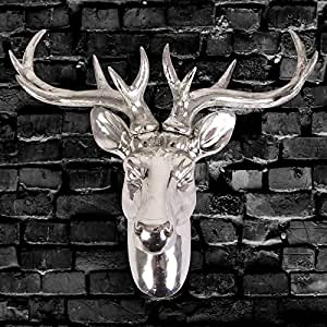 hirschkopf in silber optik wand deko hirschgeweih jagd geweih hirsch skulptur. Black Bedroom Furniture Sets. Home Design Ideas