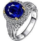YCGEMS Anello Eternity da Donna in Oro Bianco 18 kt con Zaffiro Blu e Diamanti, Gioielli da Fidanzamento (5,29CT, Blu Royal),