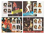 L'complète de Michael Jackson en direct sur perforée timbre décor de collecte à 4 feuilles de menthe du Roi de la Pop - Saint-Vincent