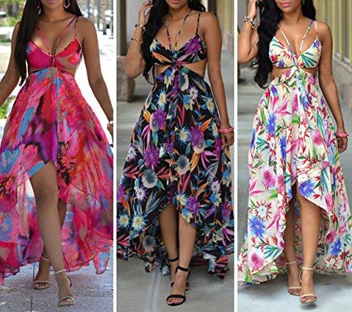 Femmes Dos nu bretelles spaghetti Floral Bra Boho plage Clubwear Maxi robe d'été Noir