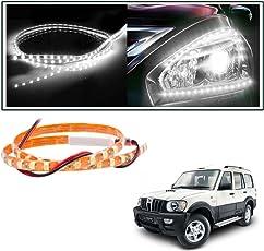 Vheelocityin 2 Pc. 45 Cm Waterproof Flexible Tube Strip Car Interior/ Exterior Light - White For Mahindra Scorpio