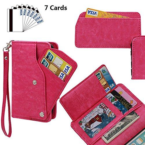 xhorizon TM MLK [Mise à niveau] [détachable] [séparable] 2 en 1 haut de gamme en cuir double-pli carte magnétique soutien le téléphone Compatible avec l'étui portefeuille avec cordon pour iPhone 5 / i Rose Rouge