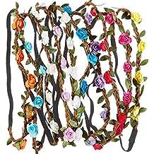 Rovtop10 Piezas Corona de Flor Venda de Pelo Redondo Venda de Flor Diadema de Flores para