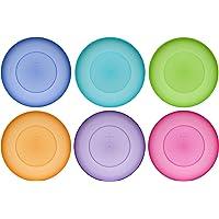 idea-station Neo Assiette Plastique 6 Pieces, 17.5 cm, Couleur, reutilisable, Rigide, Rond, empilable, Plates, Creuse…