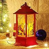 LONEEDY - Lanterna Decorativa a Forma di Pupazzo di Neve, per Interni ed Esterni, a LED, alimentata a Batteria Rosso.