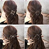 SGM 4 pieces Minimalist Hair Clips Hairpin Hair Clamps,Circle,Triangle, Moon and Infinity Pattern for Women Girls (Gold & Silver)