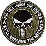 GGG New Round Punisher Skull Military Tactical Patch Tape Army Morale Badge Armband Green