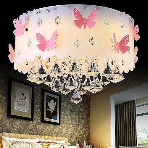 Moderne Deckenlampe Kristall Anhänger Prinzessin Mädchen Kinderzimmer Warm Romantische Hochzeit Zimmer Schlafzimmer Schmetterling E27 Lampen Runde Acryl Lampenschirm Farbpalette -