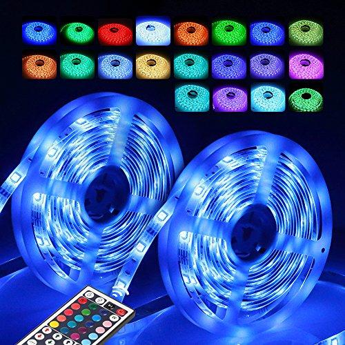 Strip Led Leuchte (InnooLight 10m LED Strip, 300LEDs IP65 bunt selbstklebend, SMD 5050 LED Lichterkette mit 44 Tasten IR-Fernbedienung und 12V 3A Netzteil)
