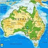Poster 50 x 50 cm: Australien - Topographische Karte von Editors Choice - Hochwertiger Kunstdruck, Kunstposter
