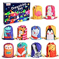 BeebeeRun 10PCS Party Favours Bags for Kids Girls Boys,Party Bags Drawstring Backpacks,Christmas Birthday Party Candy Bags Goodie Gift Bags