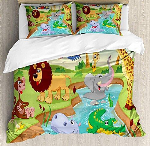 Kinder 3 Stück Bettwäsche Bettbezug Set, Cartoon Safari Afrikanische Tiere Schwimmen im See Elefanten Löwen und Giraffe Kunst, 3 Stück Tröster/Qulit Cover Set mit 2 Kissenbezügen, Multicolor -