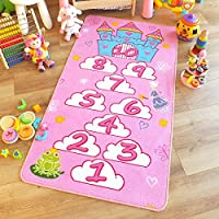Superb Kids/Childs Rug Princess Castle Hopscotch Pink Play Mat 80cm x 150cm (2