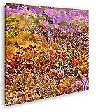 deyoli Schmetterlinge auf Einer Blumenwiese Format: 40x40 Effekt: Zeichnung als Leinwandbild, Motiv fertig gerahmt auf Echtholzrahmen, Hochwertiger Digitaldruck mit Rahmen, Kein Poster oder Plakat