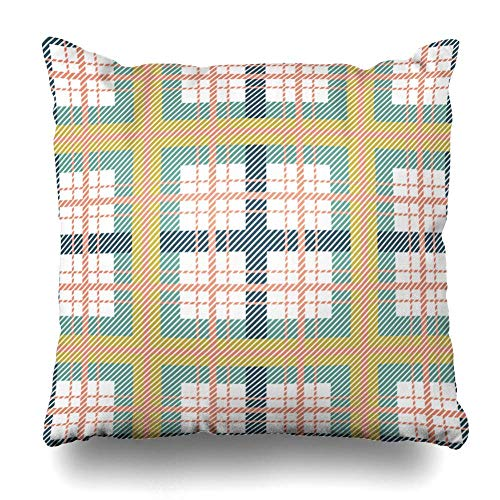 ZiJface Throw Pillows Covers Jacket British Scottish Plaid Green Colors Tartan Suit Abstract Check Checker Checkered Christmas Home Decor Pillowcase Square Size 18 x 18 Inches Cushion Case -
