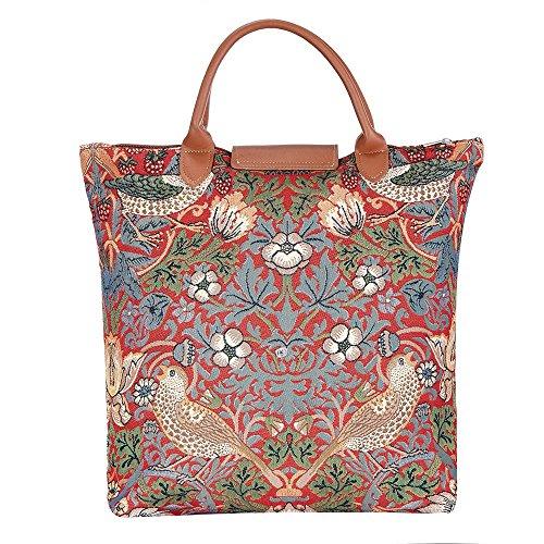 Borsa donna Signare in tessuto stile arazzo Pieghevoli Shopping alla moda Peonia Strawberry Thief Red