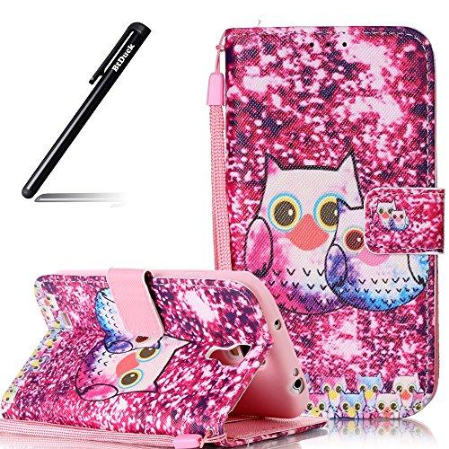 BtDuck Hülle für Samsung Galaxy S4,Case für Samsung Galaxy S4, Rosa Hülle Handyhülle PU Leder Tasche Case Eule VöBrieftasche Etui Hülle Schutzhülle Galaxy S4 Silikon Stand Lederhülle Wallet Case
