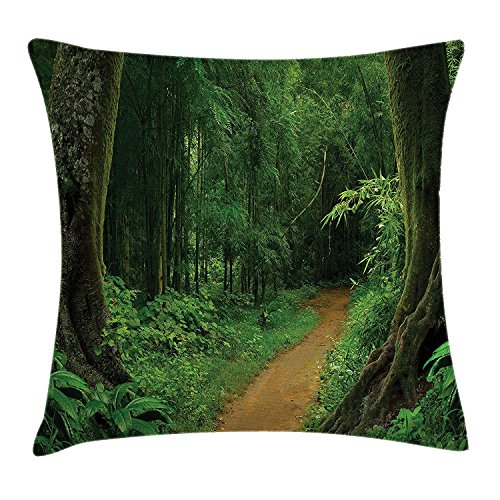 MLNHY Jungle Decor Throw Pillow Cushion Cover, Pathway in The Forest Thailand Fresh Calm Nature Park Meditation Hiking Picture, Decorative Square Accent Pillow Case, 18 X 18 Inches, Green