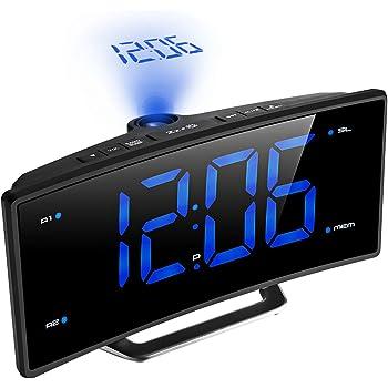 Projektionswecker, TopElek FM Radiowecker / Radiowecker mit Projektion / Uhrenradio / digitaler Wecker, Dual-Alarm mit USB-Ladeanschluss, Snooze Funktion, Einschlaffunktion, 5.5-Zoll große LED-Anzeige mit Dimmer, 12/24-Stunden, Datensicherung mit Batterie am Stromausfall.