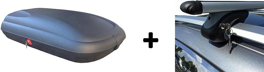 Dachbox Carbon Optik VDP 320BA günstiger Auto Dachkoffer 320 Liter abschließbar + Alu-Relingträger Dachgepäckträger im Set für Suzuki Jimny FJ ab 98