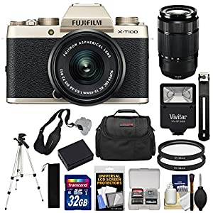 Fujifilm X-T100 Digital Camera & 15-45mm XC OIS PZ (Champagne Gold) & 50-230 Zoom Lens + 32GB Card + Battery + Tripod + Flash + Case + Kit