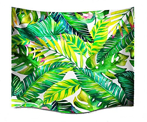 ch wandbehang wandtuch Tropische Art Grüne Blätter Indische Wand Dekor Hippie Böhmische Mandala Tapisserien (L/229X153cm(90X60inch)) ()