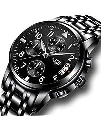 Men's Stainless Steel Wrist watches Men Waterproof Analog Quartz watch Fashoin Business Black Watches