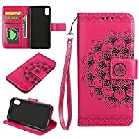 iPhone 8 Wallet Case, EST-EU Retro Mandala Embossing PU Leather Stand Function Protective Covers with Card Slot Holder Wallet Book Case for iPhone 8, Rosepink