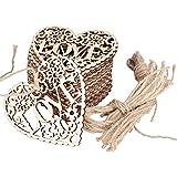 20pcs 8CM Coeur en Bois Embellissements Creux LOVE Avec Ficelles en Bois Naturel pour Suspendue Décoration Artisanales de Mariage Maison (Coeur - LOVE)