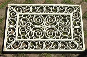 Paillasson décoratif rectangulaire en fonte-Dessous de plat-blanc