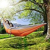 [Hamac] Ohuhu® Double 2 Personnes Nylon Tissu Voyage Camping Hamac Capacité de Charge jusqu'à 272 kg Idéal pour le Camping, Jardin, Maison, En Plein Air